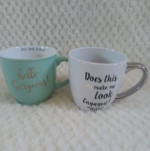 Set of 2 cute assorted mugs: Gorgeous and Engaged